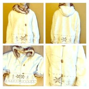 Coldwater Creek White Faux Fur Coat